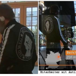 Cameraman for German public TV channel shown on screen wearing Antifa jacket